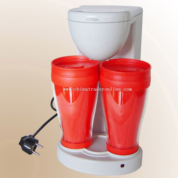 COFFEE-MAKER WITH TWIN PLASTIC CUPS