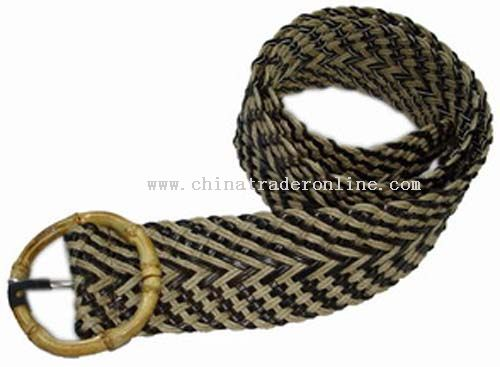 Bamboo buckle double color jute braided belt