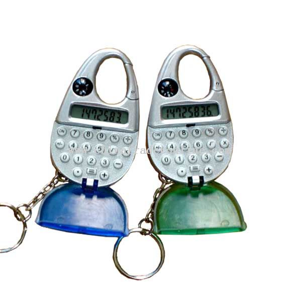 Key chain calculator with compass