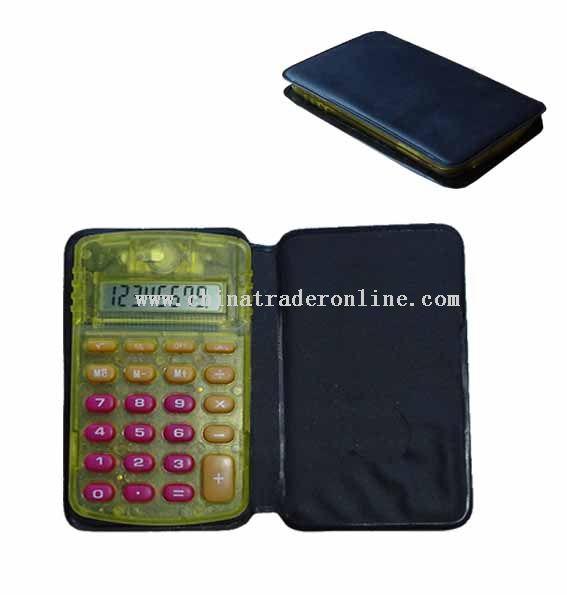 handheld calculator with wallet