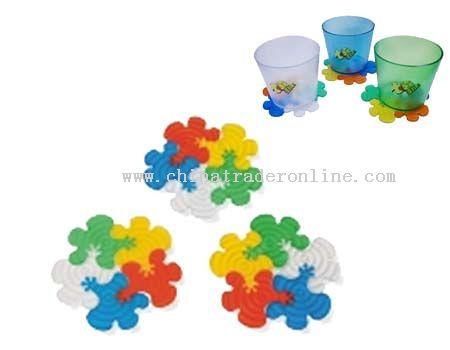 Pvc flower shaped coaster