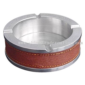 Leather and steel Ashtray