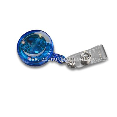 Flashing ROUND SHAPE retractable badge holder