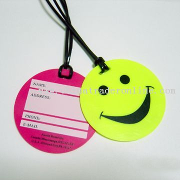 round-shaped luggage tag