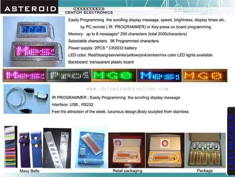 LED Buckle, Name Badge, LED Signs, LED Display