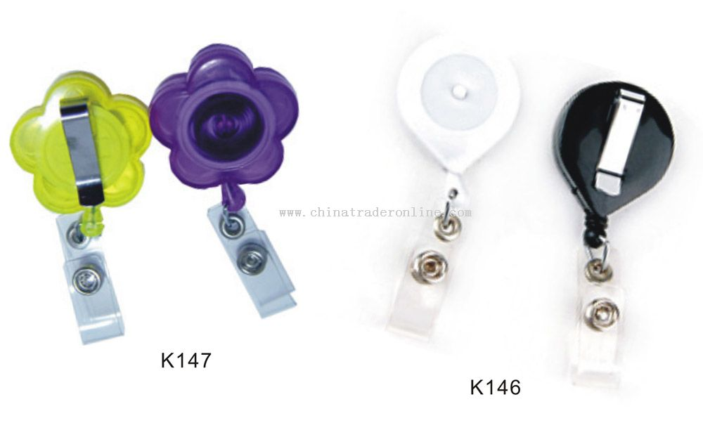 Retractable ID Badge Holder With Button from China