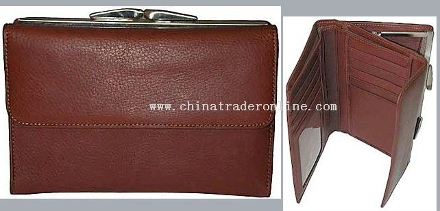 Top grade leather metal framed organzier wallet with various function