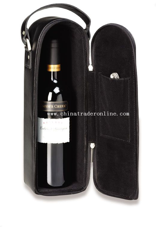 Wine tote for single bottle wine, inside opener optional