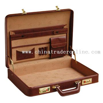 Double-Inclined Colored Surface Briefcase from China