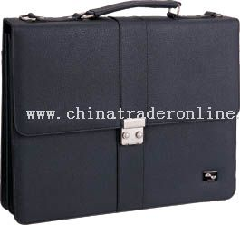 Leather look briefcase with multiple compartments