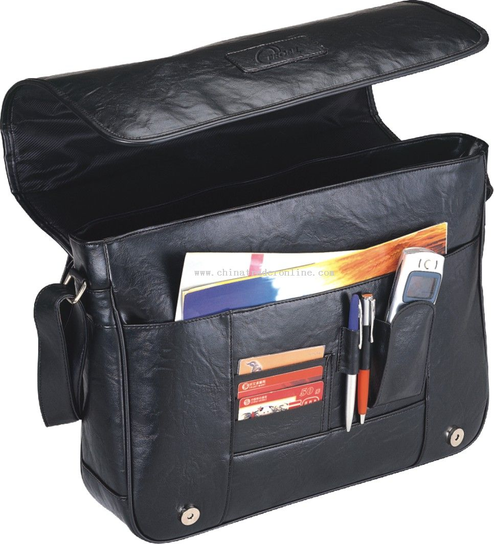 Soft imitated leather briefcase with front flap