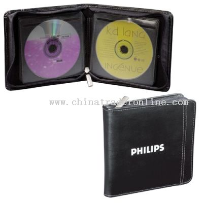 Zippered closure 12 non-static pages hold 24 CDs CD Case