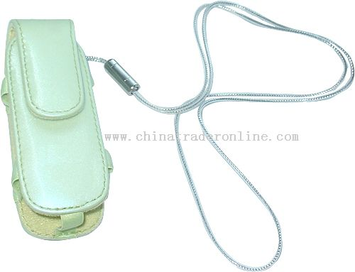 MP3 prouch in PU materia with long sliver color hand strap