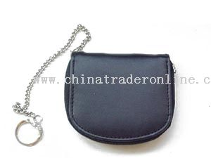 Leather or synthetic leather material coin purses with metal chain