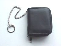 Leather or synthetic leather material zipround wallet for coins and notes