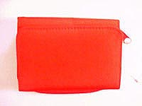Red micro fiber material wallet with coin purse and multi function pockets inside