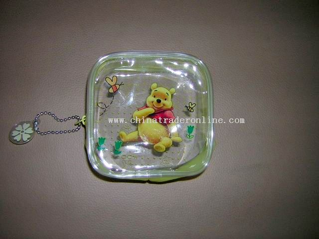 Transparent PVC coin purse for children.