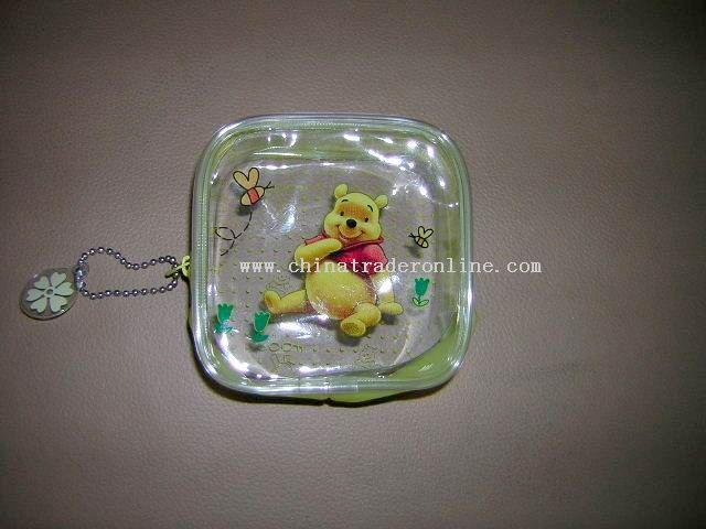 Transparent PVC coin purse for children.
