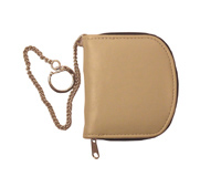 Zipround leather coin purse with metal chain outside