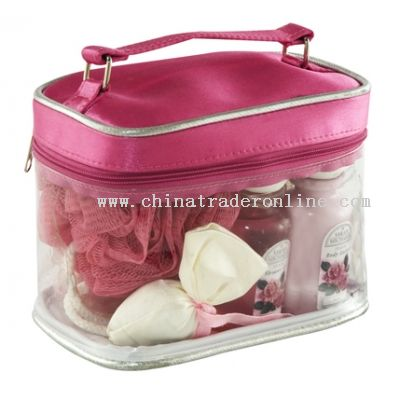 Cosmetic Bag with Trans-PVC and Microfiber