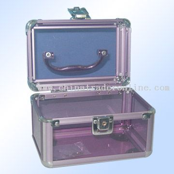 purple transparent acrylic and odd striped strip cosmetic bag