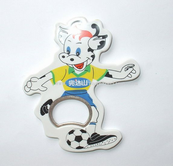 Cow Playing Football Bottle Opener