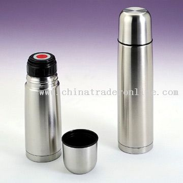 Slim Vacuum Flask with Pushing Stopper