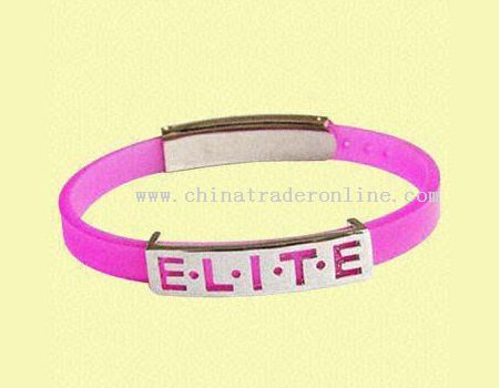 silicone wrist band with metal buckle