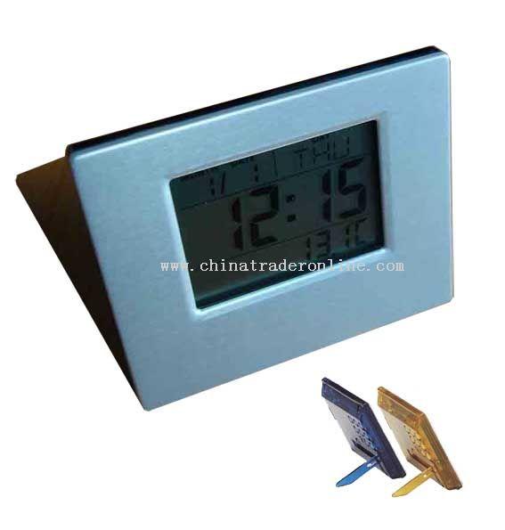 Thermometer calendar Alam clock with alumimum face