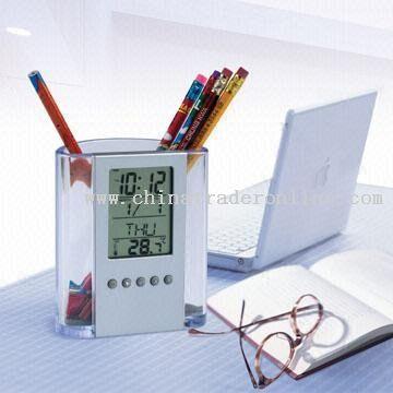 Clock Pen Holder with Calendar
