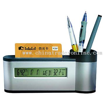 Nameplate and Pen Holder with Calendar