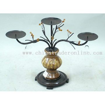 Iron, Ceramic Candle Holder