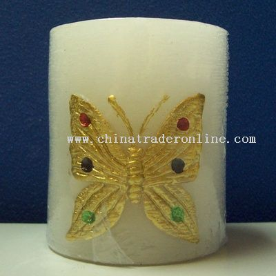 Column Carving Butterfly Candle Lamp
