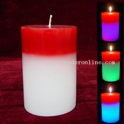 Column Shape Two Colors Candle Lamps with 7 Colors Led