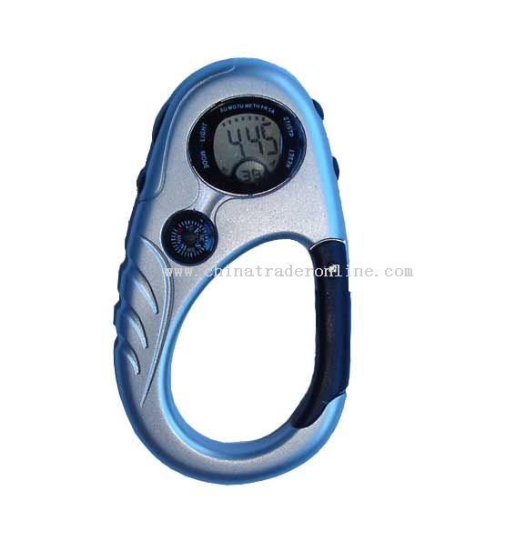 Carabiner LCD clock with compass