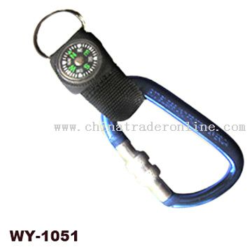 Carabiner with Webbing Strap & Compass