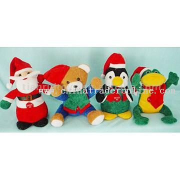Asst Plush Toys (Christmas Squeezers)