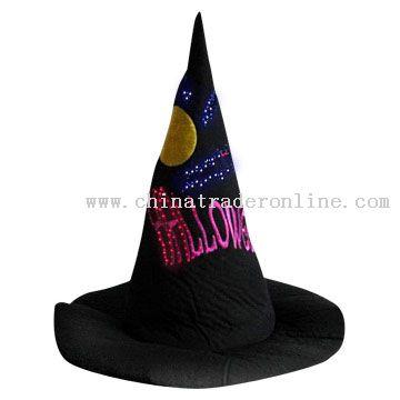Flashing Fiber Optic Bat Witch Hat