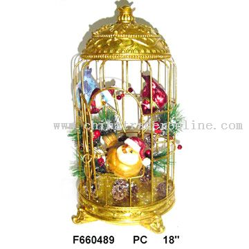 Polyresin Craft (Christmas Birds in Cage)
