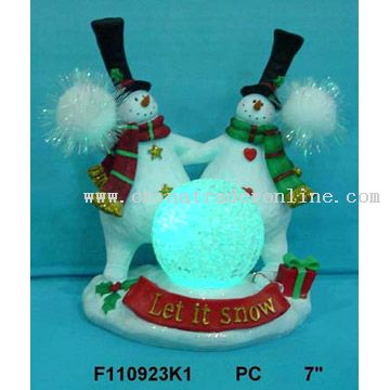Polyresin Dancing Snowmen with LED Light
