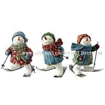 Polyresin Skiing Snowman