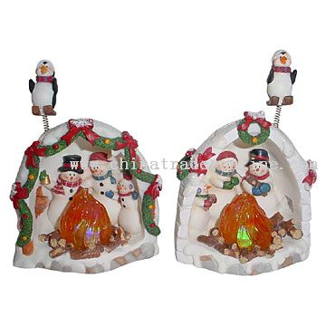 Polyresin Snowman Family with Light