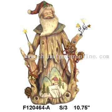 Polyresin Wood Looking Santa