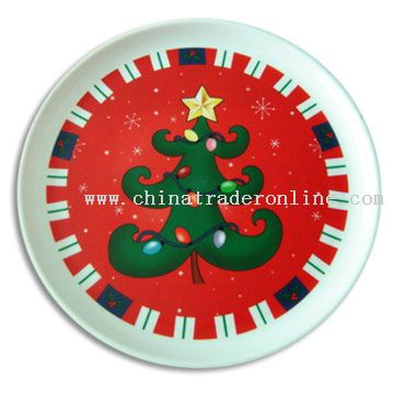 Round Serving Tray with Xmas Logo from China