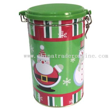 Christmas Round Tins With A Plastic Lid from China