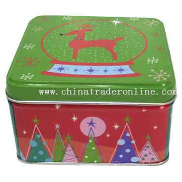Christmas Square Tin Box