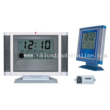 LCD Clock with Moon Phase and Wireless Doorbell