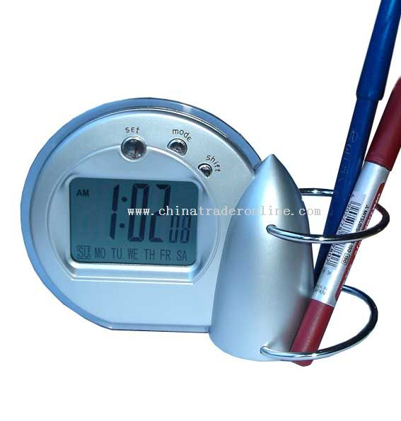 lcd digital clock with pencil vase
