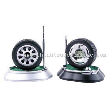 Tyre Table Alarm Clock with Radio