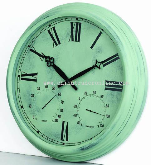 15inch Metal wall clock with temperature & humidity display